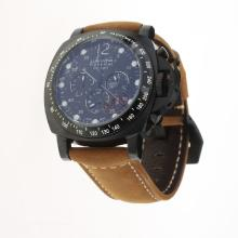 Panerai Luminor Daylight Working Chronograph PVD Case with Black Dial-Leather Strap-4