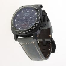 Panerai Luminor Daylight Working Chronograph PVD Case with Black Dial-Leather Strap-3