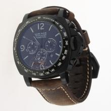 Panerai Luminor Working Chronograph PVD Case with Black Dial-Leather Strap-1