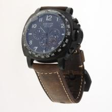 Panerai Luminor Daylight Working Chronograph PVD Case with Black Dial-Leather Strap-2