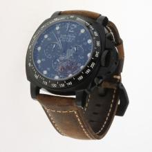 Panerai Luminor Daylight Working Chronograph PVD Case with Black Dial-Leather Strap-1