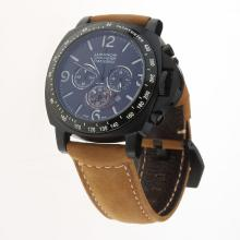 Panerai Luminor Working Chronograph PVD Case with Black Dial-Leather Strap