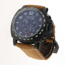 Panerai Luminor Daylight Working Chronograph PVD Case with Black Dial-Leather Strap