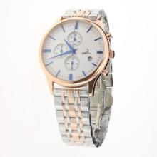 Omega Globemaster Working Chronograph Two Tone with White Dial-1