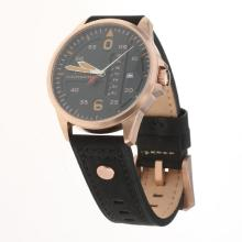 IWC Pilot Rose Gold Case Black Dial with Black Leather Strap