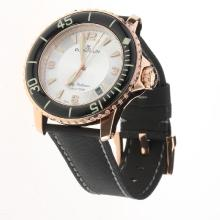 Blancpain Fifty Fathoms Automatic Rose Gold Case with White Dial-Nylon Strap