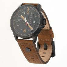 IWC Pilot PVD Case Black Dial with Brown Leather Strap