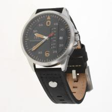 IWC Pilot Orange Markers Black Dial with Black Leather Strap