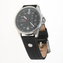 IWC Pilot White Markers Black Dial with Black Leather Strap