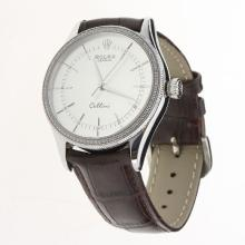 Rolex Cellini Automatic Diamond Bezel White Dial with Leather Strap-Same Chassis as Swiss Version