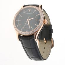 Rolex Cellini Automatic Rose Gold Case Diamond Bezel Black Dial with Leather Strap-Same Chassis as Swiss Version-1