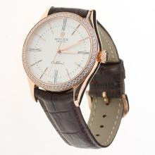 Rolex Cellini Automatic Rose Gold Case Diamond Bezel White Dial with Leather Strap-Same Chassis as Swiss Version