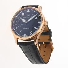 IWC Portuguese Manual Winding Rose Gold Case with Black Dial-Leather Strap-3