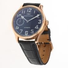 IWC Portuguese Manual Winding Rose Gold Case with Black Dial-Leather Strap-2