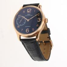 IWC Portuguese Manual Winding Rose Gold Case with Black Dial-Leather Strap-1