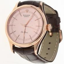 Rolex Cellini Swiss ETA 2836 Movement Rose Gold Case with Champagne Dial-Leather Strap