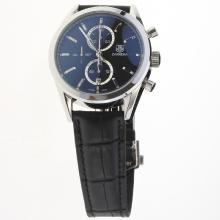Tag Heuer Carrera Cal.1887 Working Chronograph Stick Markers with Black Dial-Leather Strap