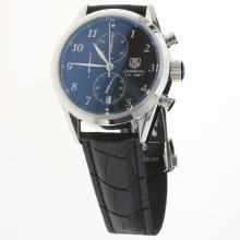 Tag Heuer Carrera Cal.1887 Working Chronograph Number Markers with Black Dial-Leather Strap