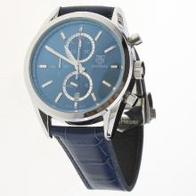 Tag Heuer Carrera Cal.1887 Working Chronograph Stick Markers with Blue Dial-Leather Strap