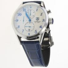 Tag Heuer Carrera Cal.1887 Working Chronograph Number Markers with White Dial-Leather Strap-2