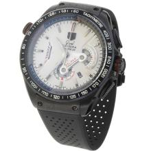 Tag Heuer Grand Carrera Calibre 36 Working Chronograph PVD Case with White Dial-Rubber Strap