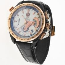 Tag Heuer Grand Carrera Calibre 36 Working Chronograph PVD Case Rose Gold Bezel with White Dial-Leather Strap