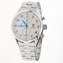 Tag Heuer Carrera Cal.1887 Working Chronograph Number Markers with White Dial S/S-2