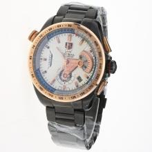 Tag Heuer Grand Carrera Calibre 36 Working Chronograph Full PVD Rose Gold Bezel with White Dial