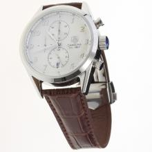 Tag Heuer Carrera Cal.1887 Working Chronograph Number Markers with White Dial-Leather Strap-1