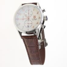 Tag Heuer Carrera Cal.1887 Working Chronograph Number Markers with White Dial-Leather Strap