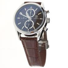 Tag Heuer Carrera Cal.1887 Working Chronograph Stick Markers with Brown Dial-Leather Strap