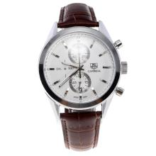 Tag Heuer Carrera Cal.1887 Working Chronograph Stick Markers with White Dial-Leather Strap