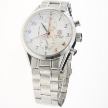 Tag Heuer Carrera Cal.1887 Working Chronograph Number Markers with White Dial S/S