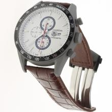 Tag Heuer Carrera Working Chronograph Titanium Case Ceramic Bezel with White Dial-Leather Strap-1
