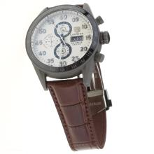 Tag Heuer Carrera Calibre 16 Working Chronograph Titanium Case Ceramic Bezel with White Dial-Leather Strap