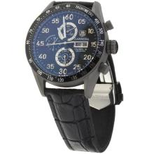 Tag Heuer Carrera Calibre 16 Working Chronograph Titanium Case with Black Dial-Leather Strap