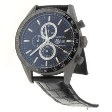 Tag Heuer Carrera Working Chronograph Titanium Case Ceramic Bezel with Black Dial-Leather Strap-1