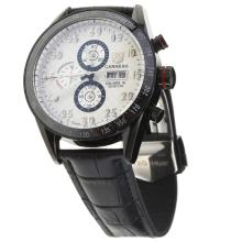 Tag Heuer Carrera Calibre 16 Working Chronograph PVD Case Ceramic Bezel with White Carbon Fibre Style Dial-Leather Strap