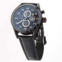 Tag Heuer Carrera Calibre 16 Working Chronograph PVD Case Ceramic Bezel with Black Dial-Leather Strap