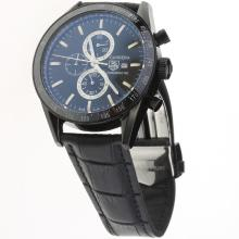 Tag Heuer Carrera Working Chronograph PVD Case Ceramic Bezel with Black Dial-Leather Strap
