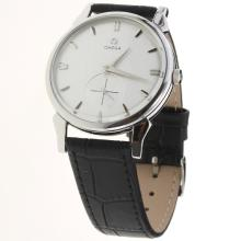 Omega Automatic with Silver Dial-Leather Strap