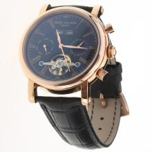Patek Philippe Tourbillon Automatic Rose Gold Case with Black Dial-Leather Strap