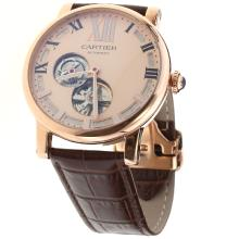 Cartier Calibre de Cartier Tourbillon Automatic Rose Gold Case with Champagne Dial-Leather Strap