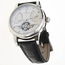 Patek Philippe Calatrava Tourbillon Automatic with White Dial-Leather Strap