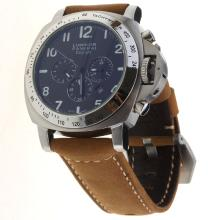Panerai Luminor Daylight Working Chronograph with Black Dial-Leather Strap