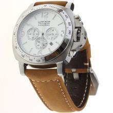 Panerai Luminor Working Chronograph with White Dial-Leather Strap-3