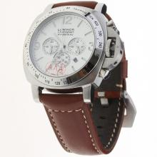 Panerai Luminor Working Chronograph with White Dial-Leather Strap-2