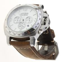 Panerai Luminor Working Chronograph with White Dial-Leather Strap-1