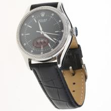 Rolex Cellini Automatic Diamond Bezel with Black Dial-Leather Strap-1