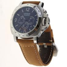 Panerai Luminor Working Chronograph with Black Dial-Leather Strap